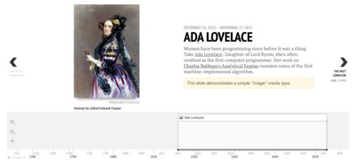 Screenshot of the Timeline JS timeline for Ada Lovelace.