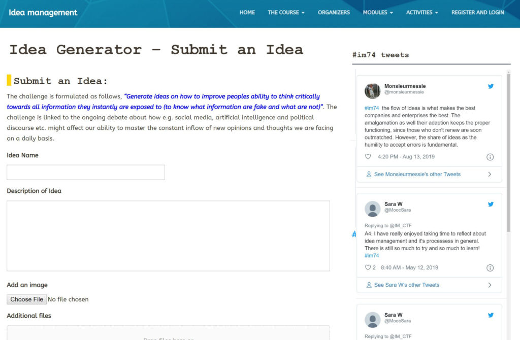 idea generator screenshot